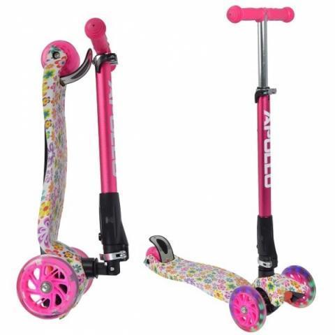 "Тротинетка -триколка ""Kids Whiz "" LED колела розова с принт цветя"