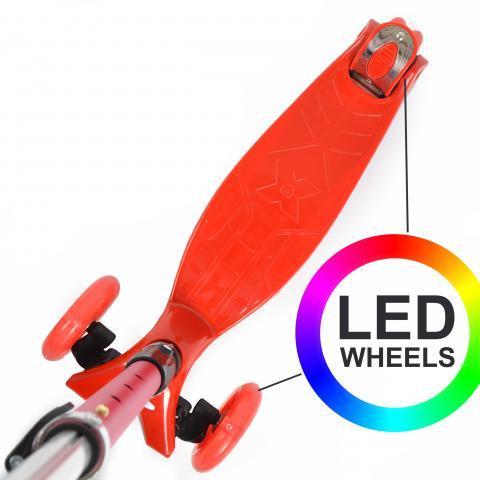 """Тротинетка -триколка """"Kids Whiz """" LED колела Червена"""