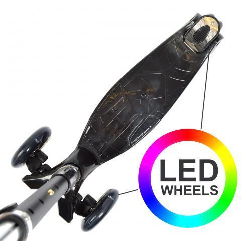 "Тротинетка -триколка ""Kids Whiz "" LED колела Черна"