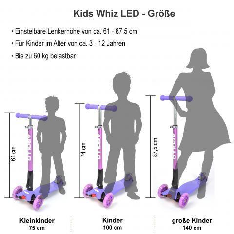 """Тротинетка -триколка """"Kids Whiz """" LED колела черна с принт графити"""
