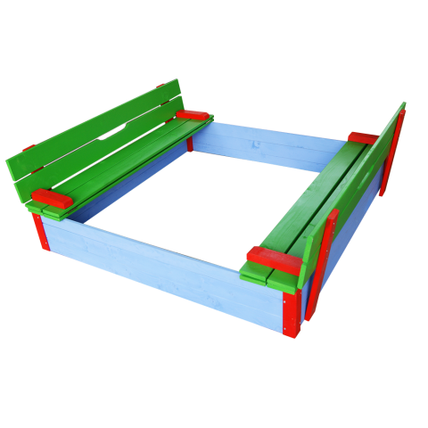 Детски пясъчник с пейки и капак цветен 1