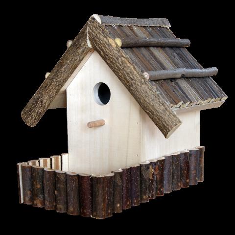 Къща за птици с хранилка