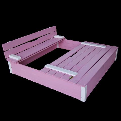 Детски пясъчник с пейки и капак розов 2