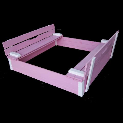 Детски пясъчник с пейки и капак розов 1