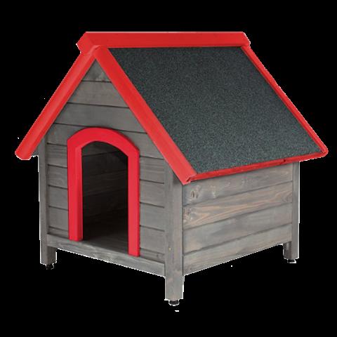 Къща за куче с червени елементи